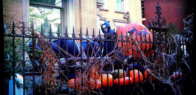 Halloween decorations at the Meysenburg Mansion in Chicago's Gold Coast neighborhood.