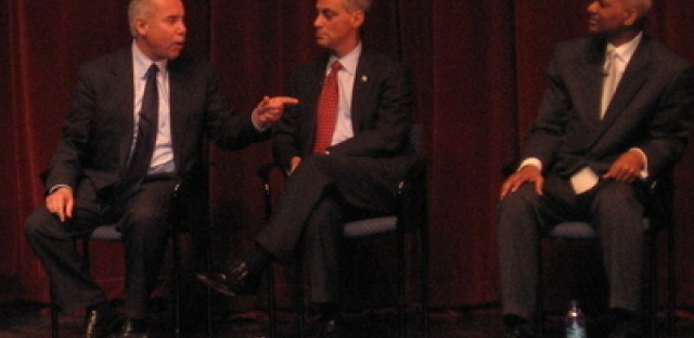 """Miguel del Valle, Rahm Emanuel and Bill """"Dock"""" Walls at a debate Wednesday evening."""