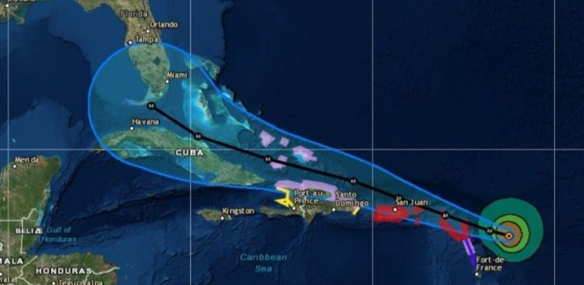 Hurricane Irma's likely path through the Caribbean is shown on this NOAA map from its 2 p.m. ET advisory Tuesday. The blue lines show its potential track, not the outer edge of Irma's strong winds.