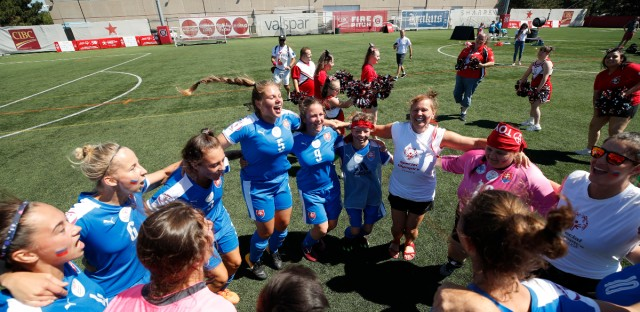 In this photo provided by Special Olympics Unified Cup, Soccer players celebrate during the first day of an inaugural Special Olympics Unified Cup soccer game in Chicago, Ill., Tuesday, July 17, 2018. Special Olympics hits 50-year mark of providing people with intellectual disabilities a platform to shine. The organization is celebrating its anniversary in Chicago, where Eunice Kennedy Shriver helped organize the first games.