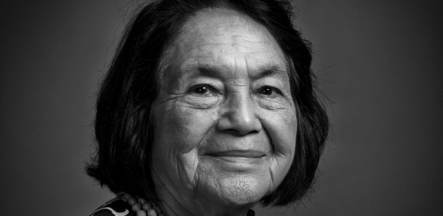 Civil rights icon Dolores Huerta at the WBEZ studios on Thursday, Oct. 19, 2017.