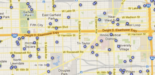 A screenshot of Accelerate 77's interactive map. (Courtesy Acclerate77.net and Google Maps)