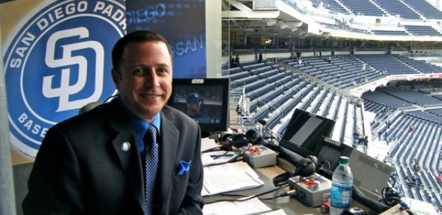 Announcer Andy Masur in the Padres broadcast booth.
