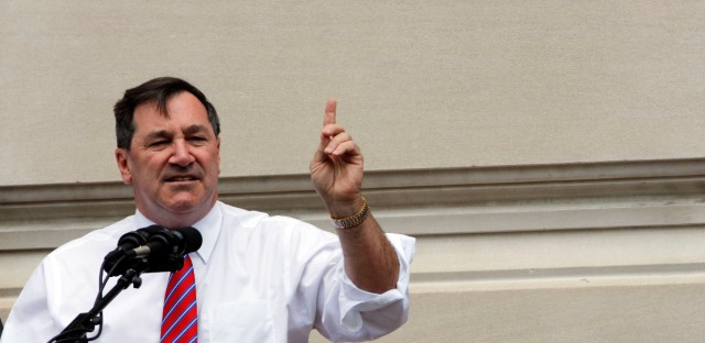 Sen. Joe Donnelly, D-Ind., speaks at a rally by United Steel Workers Local 1999 in Indianapolis, Friday, April 29, 2016.