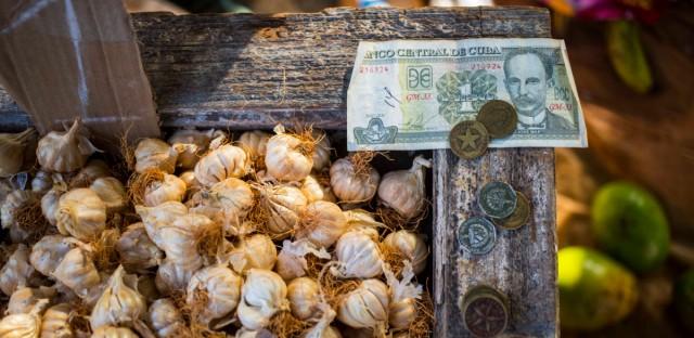 Cuban pesos sit on the edge of a bin filled with garlic bulbs at an outdoor food market in Havana, Cuba.