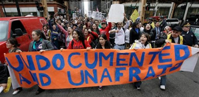 Undocumented Chicago immigrants rally for support in 2010.