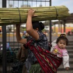 A woman balances a bundle of bamboo canes on her head as she leaves the Central Market in Guatemala City, Saturday, Oct. 24, 2015.