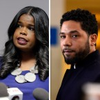 A portrait of Kim Foxx paired with a portrait of Jussie Smollett