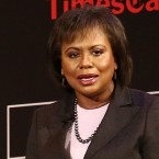 "Anita Hill speaks during ""TimesTalks Presents: Kerry Washington and Anita Hill Confirmation"" on April 8 in New York City. Hill is now a professor of race and gender policy at Brandeis University."