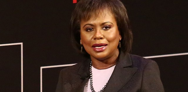 """Anita Hill speaks during """"TimesTalks Presents: Kerry Washington and Anita Hill <em>Confirmation""""</em> on April 8 in New York City. Hill is now a professor of race and gender policy at Brandeis University."""