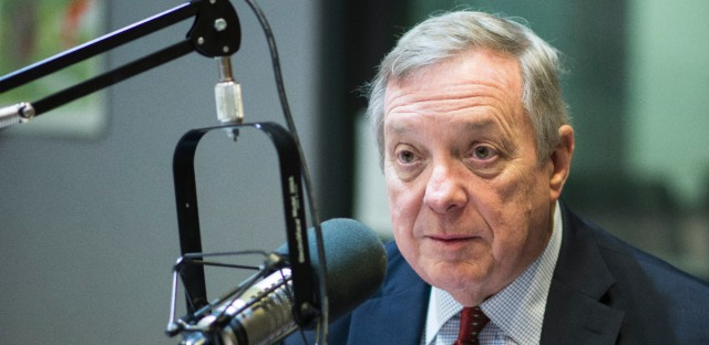 U.S. Senator Richard J. Durbin seen at WBEZ studios in 2017