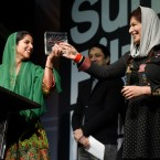 "Sonita Alidazeh, left, subject of the documentary film ""Sonita,"" and the film's director Rokhsareh Ghaem Maghami accept the World Cinema Documentary Grand Jury Prize for the German/Iranian/Swiss film during the 2016 Sundance Film Festival Awards."