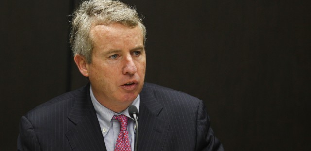 n this March 23, 2013 file photo, Christopher Kennedy, former chairman of the University of Illinois Board of Trustees, presides over a meeting of the board in Chicago.