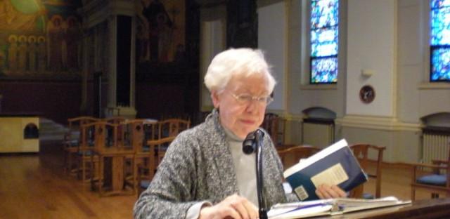 Sister Suzanne Zuercher leading prayers at St. Scholastica.