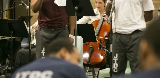 Karen Basrak performs at Cook County Juvenile Temporary Detention Center. Karen was one of the Chicago Symphony Orchestra members who performed with eight young men from the center.