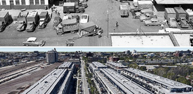 The old produce market, above, and the condos that have replaced it, below.