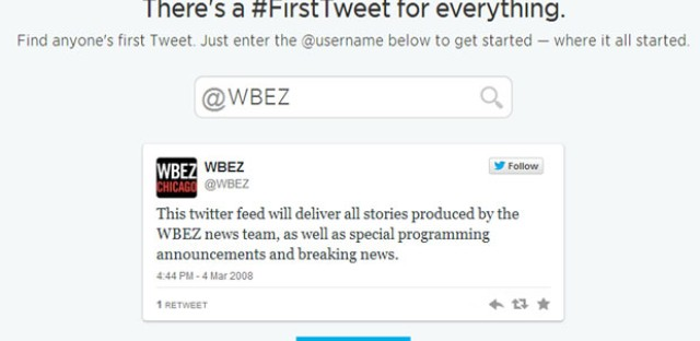 A look at WBEZ's first tweet.