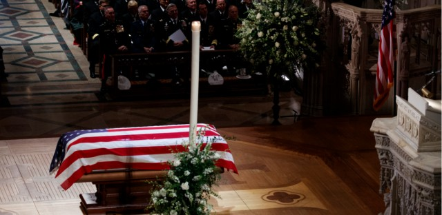 Former President George W. Bush speaks during the State Funeral for his father, former President George H.W. Bush, at the National Cathedral, Wednesday, Dec. 5, 2018, in Washington.