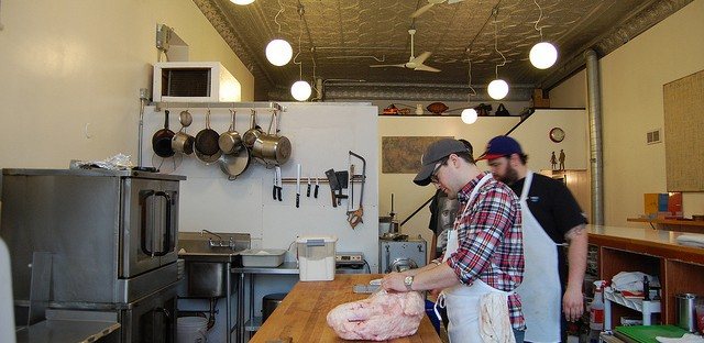 Rob Levitt with cow udder at The Butcher & Larder