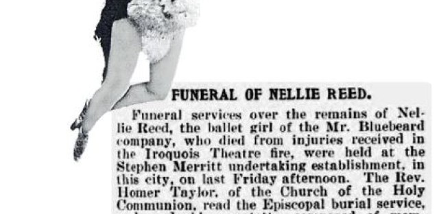 Nellie Reed, a trapeze artist in a show at the Iroquois Theater, was the only cast member killed as a result of the fire. Figures similar to the one above sometimes appear in photos people take in the alley.
