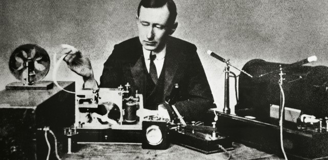Guglielmo Giovanni Maria Marconi, Italian physicist and inventor, with one of his first wireless telegraphs.