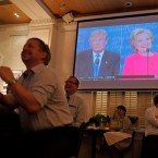 People watch live broadcasting of the U.S. presidential debate between Democratic presidential nominee Hillary Clinton and Republican presidential nominee Donald Trump, at Foreign Correspondents' Club in Hong Kong, Tuesday, Sept. 27, 2016.