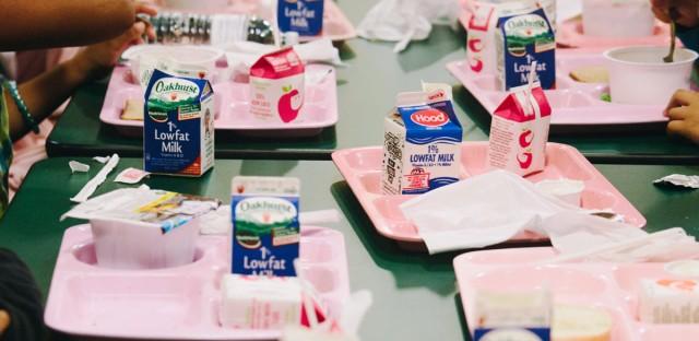 Students eat breakfast at the Blueberry Harvest School at Harrington Elementary School in Harrington, Maine.