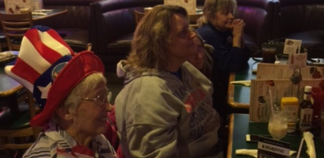 Stella Kozanecki, front, with Maria Hough, Lanna Logan and Logan's mother watching Donald Trump's inauguration at the Neimerg's Steakhouse in Effingham, Illinois on Jan. 20, 2017.
