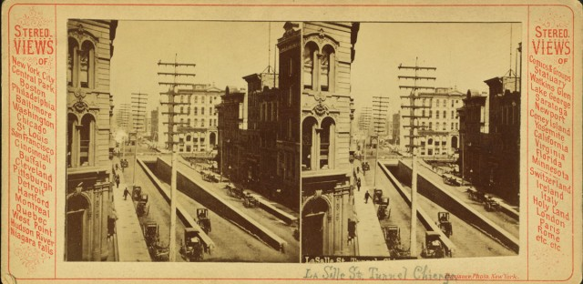 This stereoscopic photo, which dates from around the turn of the last century, shows the entrance to LaSalle Street cable car tunnel under the Chicago River. Chicago's cable car tunnels were the first in the country used for mass transit.
