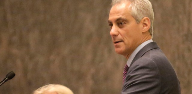 Chicago Mayor Rahm Emanuel speaks before the City Council in 2015. His speech is expected to focus partly on a plan to expand the police department by 970 sworn positions by the end of 2018.
