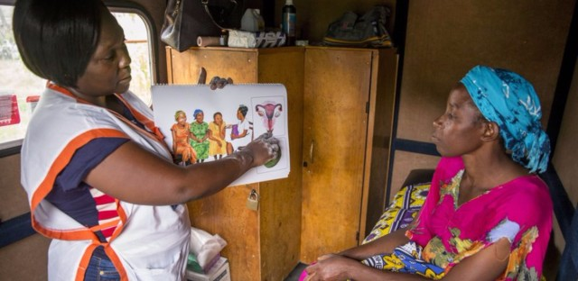 A mobile clinic outside Mombassa, Kenya, provides women in rural areas with family planning options like contraceptive implants and offers cervical cancer screening as well. (Jonathan Torgovnik/Getty Images)