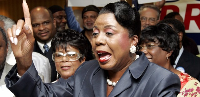 Cook County Circuit Court Clerk Dorothy Brown addresses supporters during a news conference in, 2006  when she announced she was running to be the mayor of Chicago.