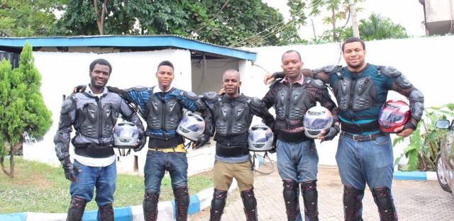 """The drivers for Metro Africa Xpress get a good salary — and a cool uniform. People say the outfits make the drivers look like """"RoboCop on the street."""""""