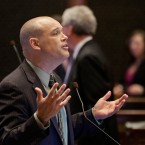 Illinois Rep. Ron Sandack, R-Downers Grove, speaks to lawmakers while on the House floor during session at the Illinois State Capitol Wednesday, May 25, 2016, in Springfield, Ill.
