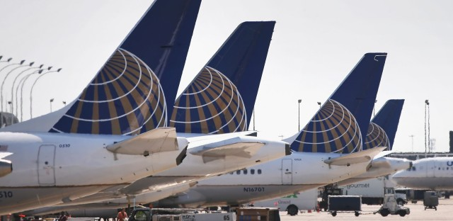 United Airlines jets sit at gates at O'Hare International Airport. (Scott Olson/Getty Images)