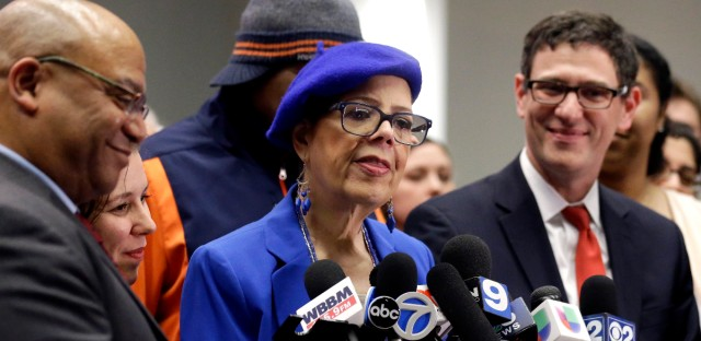 Chicago Teachers Union president Karen Lewis speaks at a news conference on Wednesday, March 23, 2016, in Chicago. The Chicago Teachers Union has voted approve a one day walkout on April 1, 2016.