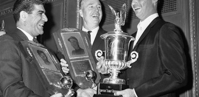 Sportswriter Joe Mooshil, left, in 1964 with L.A. Dodgers Sandy Koufax and Walt Alston.