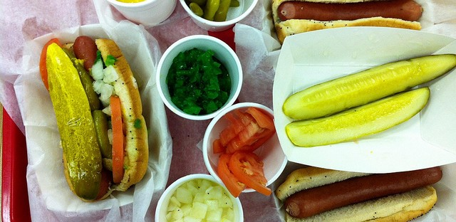 Chicago-style hot dog with condiments at Vienna Beef Café
