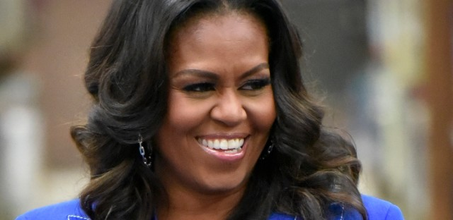 "Former first lady Michelle Obama speaks with students about her upcoming book ""Becoming"" during a roundtable discussion at Whitney M. Young Magnet High School, on Monday, Nov. 12, 2018, in Chicago."