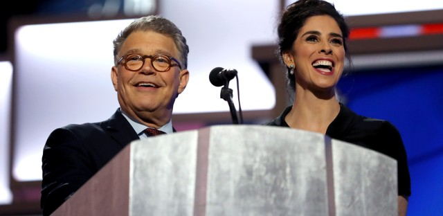 Minnesota Sen. Al Franken and comedian Sarah Silverman take the stage Monday night. Silverman, a Bernie Sanders supporter, praised Sanders but urged support for Hillary Clinton.