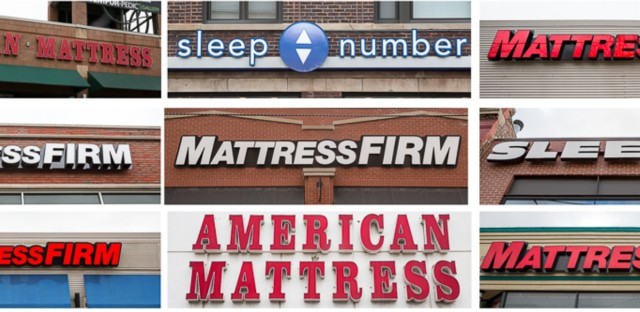 Every mattress store along a one-mile stretch north of the intersection of Clybourn Ave., North Ave. and Halsted Street in Chicago.