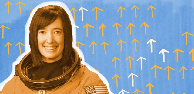 NASA astronaut Megan McArthur powers up with food and slumber, on Earth and in outer space. (Photo courtesy of NASA/Illustration by Paula Friedrich/WBEZ)