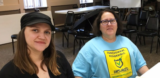 Michelle Gross (right), is a member of the Committee for Professional Policing, which is proposing a ballot measure in Minneapolis that would require police officers to carry liability insurance.