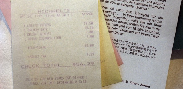 A form that tells diners there is no built-in service charge on their bill and that a gratuity of 15-20 percent for quality service is customary is seen in Santa Monica, California on Wednesday, April 14, 1999.