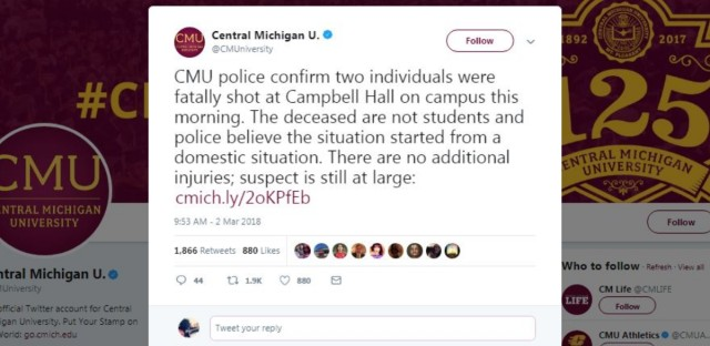 """Central Michigan University Twitter account: """"The deceased are not students and police believe the situation started from a domestic situation."""""""