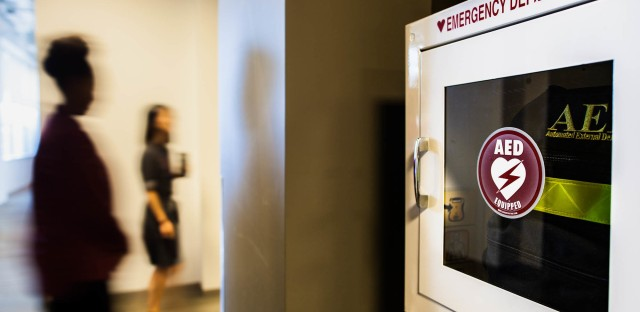 About 10,000 cardiac arrests happen in workplaces each year, according to the American Heart Association. Using an automatic external defibrillator can increase the chance of survival.