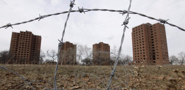 Federal housing policies created after the Depression ensured that African-Americans and other people of color were left out the new suburban communities — and pushed instead into urban housing projects, such as Detroit, Mich.'s Brewster-Douglass towers.