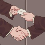 An illustration a handshake and business card exchange
