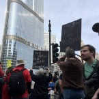 People rally near the Trump Tower in Chicago on Monday, Feb. 20, 2017. Thousands of demonstrators turned out Monday across the U.S. to challenge Donald Trump in a Presidents' Day protest dubbed Not My President's Day.