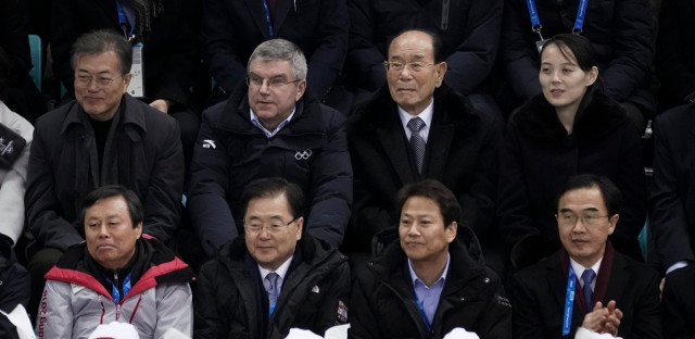 Kim Yo Jong, sister of North Korean leader Kim Jong Un, top right, and North Korea's nominal head of state Kim Yong Nam, second right, Thomas Bach, President of the International Olympic Committee, and South Korean President Moon Jae-in, top left, watch the preliminary round of the women's hockey game between Switzerland and the combined Koreas at the 2018 Winter Olympics in Gangneung, South Korea, on Feb. 10, 2018.